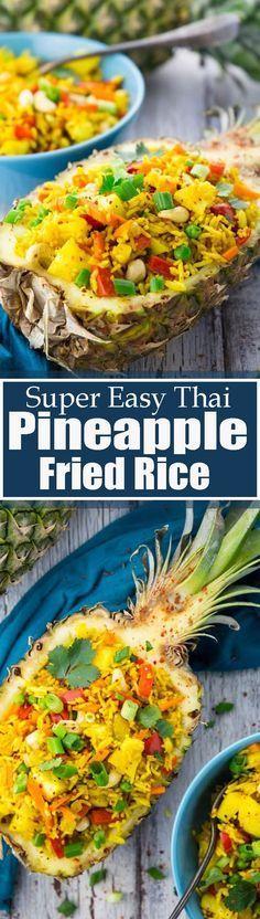 This Thai pineapple fried rice is one of my favorite vegan dinner recipes or one of my favorite vegetarian recipes in general! Find more vegan recipes at veganheaven.org