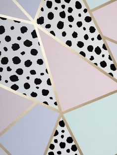 This beautiful Dalmatian Fragments Geometric wallpaper will make a stylish statement in your home. The design features a metallic gold geometric pattern of abstract triangle and quadrilateral shapes containing different pastel block colours such as pink, lilac and mint as well as a dalmatian print pattern. Easy to apply, this high quality wallpaper would look great as a feature wall or equally good when used to decorate a whole room. Paper Wallpaper, Geometric Wallpaper, Home Interior Design, Interior Styling, High Quality Wallpapers, Pastel Colors, Colours, Dalmatian