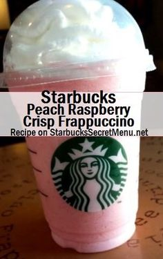 Starbucks Peach Raspberry Crisp Frappuccino - - Sometimes you just want something fruity, creamy and topped with lots of whipped cream! Starbucks Hacks, Starbucks Secret Menu Drinks, My Starbucks, Starbucks Frappuccino, Frappuccino Recipe, Vanilla Bean Frappachino Starbucks, Peach Raspberry Crisp, Raspberry Syrup, Secret Menu Items