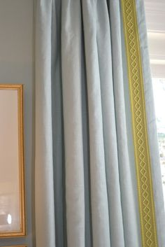 Braiding stitched to a solid color #Drape adds pizzaz.  #Curtains. This photo is by Lucy Williams Interior Design.  I've created a similar detail by stitching trim to the edge of Pre-Made #Draperies.  Beautiful!