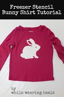 freezer stencil bunny shirt tutorial