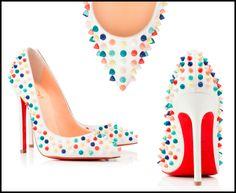 Vanilla Ice Cream With Sprinkles! Christian Louboutin Sandals, Red Bottoms, Pumps, Heels, Leather, Spikes, Vanilla, Ice Cream, Women