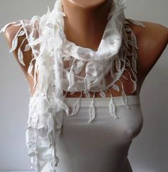 White Scarf with White Trim Edge Shaped Leaves by SwedishShop, $17.90