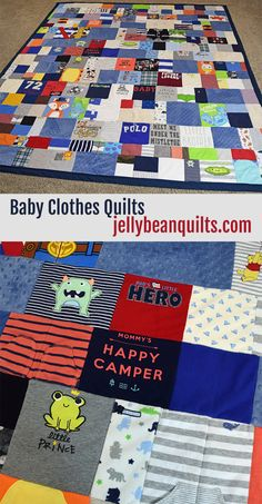 What a cute thing to do with those old baby clothes - make baby clothes quilts! Saving for later, I need to do this someday! jellybeanquilts.com