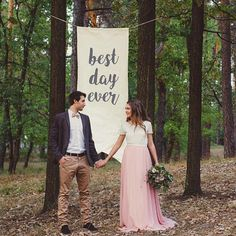 Wedding Banner 6ft Tall Best Day Ever Whimsical Rustic