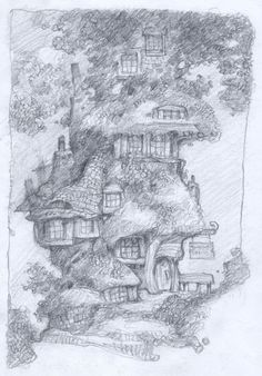 Fantasy Artist for Animation, Games and Stories. Fantasy Drawings, Art Drawings, Adult Coloring Pages, Coloring Books, Tree House Drawing, Landscape Pencil Drawings, Art Simple, Fantastic Art, Whimsical Art