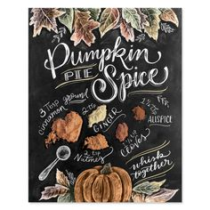 Items similar to Pumpkin Pie Spice Recipe - Print - Fall Decor - Fall Art - Pumpkin Spice - Recipe Illustration - Fall Wall Art - Hand-Lettering - Chalk Art on Etsy Cafe Logo, Pie Spice Recipe, Lily And Val, Chalk Wall, Chalk Board, Chalkboard Designs, Fall Chalkboard Art, Blackboard Chalk, Chalk Design