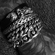 Shop fine designer men's jewelry including men's leather bracelets, men's gold skull rings and men's beaded necklaces. Also find great gift ideas for men. Cool Mens Bracelets, Link Bracelets, Homemade Bracelets, Rock And Roll Fashion, Adjustable Bracelet, Handmade Shop, Bracelet Sizes, Bracelet Designs, Eileen Fisher