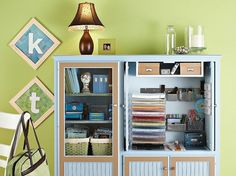 Repurposed Entertainment Center turns into a craft storage center! Furniture Makeover, Diy Furniture, Old Entertainment Centers, Entertainment Wall, Storage Center, Scrapbook Storage, Scrapbook Supplies, Small Space Storage, Space Crafts