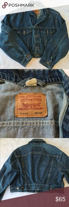 """Vintage Levi's Strauss Jean Jacket Denim USA Vintage Levi's Denim Jacket. Natural distressing/fading or wear. Baggy and cropped.Would fit a Medium/ Large. ✂ M E A S U R E M E N T S - are taken with garments laying flat, across seam to seam, and are not doubled. Shoulder to shoulder: 19 ½ """" Chest (pit to pit): 21 1/2 """" Bottom Width: 18 1/2"""" Total length: 18"""" Sleevelength from the top: 26"""" Levi's Jackets & Coats"""