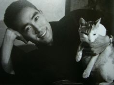 "Yukio Mishima with cat. ""What transforms this world is — knowledge. Do you see what I mean? Nothing else can change anything in this world. Knowledge alone is capable of transforming the world, while at the same time leaving it exactly as it is. When you look at the world with knowledge, you realize that things are unchangeable and at the same time are constantly being transformed.""  ― Yukio Mishima, The Temple of the Golden Pavilion"