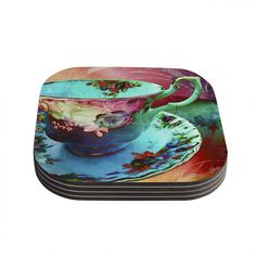 Kess InHouse alyZen Moonshadow 'Mad Hatters T-Party VI' Teal Pink Coasters