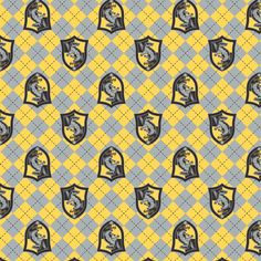 Harry Potter Flannel, Fabric By The Yard, Yellow Argyle Hufflepuff Crest, Hufflepuff Flannel, TheFabricEdge Harry Potter Fabric, Harry Potter Art, Minnie Mouse Fabric, Skull Fabric, Shirting Fabric, Flannel, Sewing Patterns, Quilts, Yellow