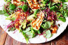 Halloumi, Avocado & Lime Salad - The Little Green Spoon Best Salad Recipes, Summer Salad Recipes, Summer Salads, Diet Recipes, Vegetarian Recipes, Healthy Recipes, Healthy Meals, Healthy Food, Recipies