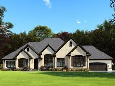 European, French Country, One-Story House Plan 82563 with 3 Beds , 3 Baths , 4 Car Garage Elevation European Plan, European Style Homes, European House Plans, Luxury House Plans, House Plans One Story, One Story Homes, Best House Plans, Small House Plans, 1 Story House