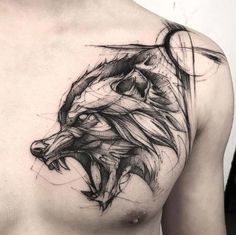 60 Amazing Wolf Tattoos - The Best You'll Ever See - Page 3 .- 60 Amazing Wolf Tattoos – The Best You'll Ever See – Page 3 of 6 A sketch style wolf by BK - Wolf Tattoo Design, Tattoo Design Drawings, Tattoo Sleeve Designs, Sleeve Tattoos, Fenrir Tattoo, Norse Tattoo, Viking Tattoos, Viking Tattoo Sleeve, Celtic Tattoos