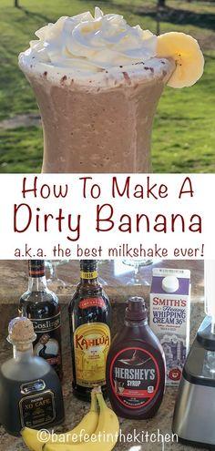 The Dirty Banana Liquor Drinks, Cocktail Drinks, Cocktail Recipes, Bartender Drinks, Bourbon Drinks, Banana Cocktails, Beste Cocktails, Dirty Banana Recipe, Banana Recipes