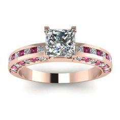 Diamond Engagement Ring With Pink Sapphires 44