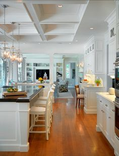 Traditional White Kitchen. Traditional White Kitchen Design. #Traditional #WhiteKitchen. Kitchen Countertop Ideas: The island counter is mah...