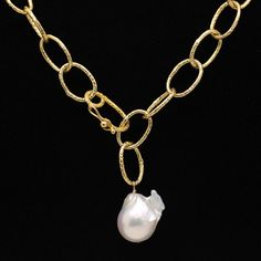 18K Yellow Gold Plated Link Necklace With Baroque Pearl Drop Lovely link necklace is 18K yellow gold over sterling silver and can be worn several ways, including showcasing the large white baroque pearl drop as a pendant or lariat. Item: N0046 Sizes: Appx. 20 inches long