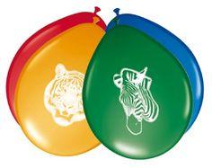 8 globos * ANIMALES SALVAJES * Para cumpleaños infantiles // Aproximadamente 30 cm de diámetro // Fiesta infantil diseño cumpleaños globo chimbomba decorativo diseño de cebra Safari Tiger