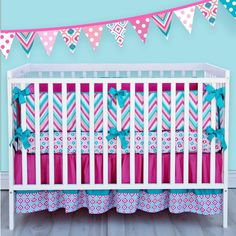 Sweet And Feminine Baby Girls Bedding Sets : Caden Lane ZigZag Pattern Baby Girls Bedding Set Inspiration Offering Cute Look in Light Blue C...
