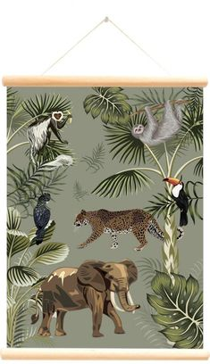 Little And Pure Poster Big Five Forest Groen Achterkant Safari Room, Safari Nursery, Forest Bedroom, Jungle Bedroom, Kids Office, Tropical Art, Animal Wallpaper, Little Girl Rooms, Safari Animals