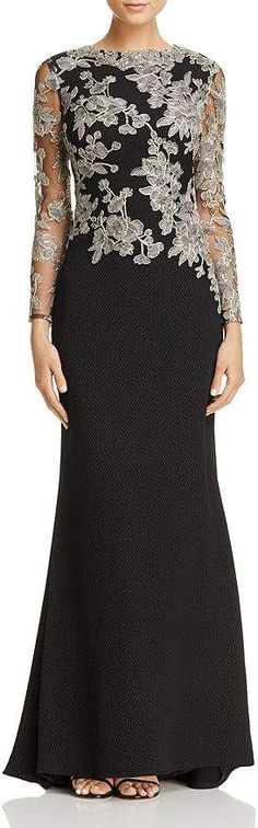 Tadashi Shoji Embroidered-Bodice Crepe Gown Women – Bloomingdale's - atemberaubende kleider Classy Outfit, Elegant Outfit, Mother Of Groom Dresses, Mothers Dresses, Dresses Elegant, Beautiful Dresses, Elegant Gown, Evening Gown Pattern, Tadashi Shoji