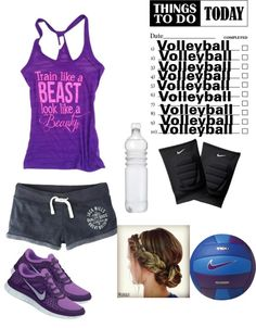 """""""Volleyball tryouts on Thursday. Need to practice! Practice! Practice"""" by micaelahall ❤ liked on Polyvore"""