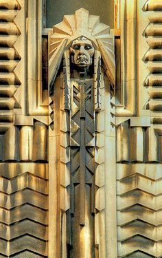 The Big Chief, native american carved in limestone by Corrado Parducci, is located above the Griswold Street entrance of the Greater Penobscot Building— a 1928 Art Deco building located in the heart of the Detroit, Michigan Financial District. Arte Art Deco, Estilo Art Deco, Art Nouveau, Art And Architecture, Architecture Details, Streamline Moderne, Art Deco Buildings, Diesel Punk, Sculpture