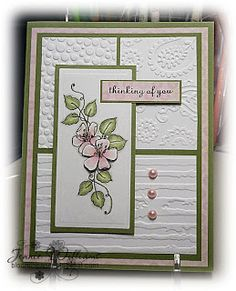 handmade card from Bloomin' Paper: CASE card . white with pink and green . luv the use of different embossing folders on the three background panels . Embossed Cards, Stamping Up Cards, Card Making Inspiration, Pretty Cards, Card Sketches, Sympathy Cards, Paper Cards, Creative Cards, Cool Cards