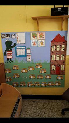 Aanwezigheidsbord met wasknijpers en namen van de kinderen die aan het appartement hangen.. Eerste letter van de naam is rood de kleuter zoekt de juiste bus met beginletter van zijn naam en maakt de wasknijper eraan vast.