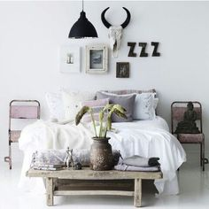 Like the shades and textures in this bedroom