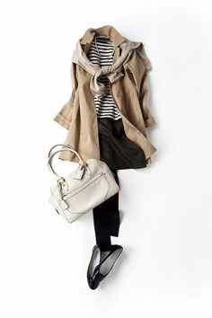 Kyoko Kikuchi's Closet | classic trench coat, beige sweater or cardigan, black and white striped shirt, black trousers and ballet flats -- basics