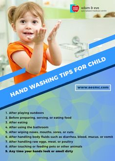 Washing your #hands and the #children's hands, or encouraging them to #wash their hands, is one of the best ways to reduce the spread of #disease. ADAM & EVE Specialized Medical Centre PO Box : 32866, Near Royal Rose Hotel Pink Building (501) Floor 01 Electra Street,Abu Dhabi,UAE Contact Us : +971 2 676 7366 / +971 52 1555 366 / 055 1555 366 Email : info@aesmc.com visit us - www.aesmc.com