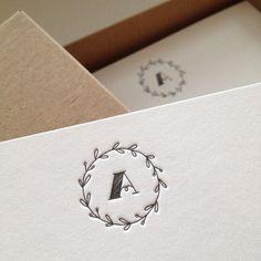 """Sets - """"Monogramm"""" Grußkarten-Set (10 Stk.) - ein Designerstück von milia-druckt bei DaWanda"""