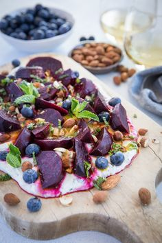 Roasted Beet Salad with Herbed Whipped Ricotta and Citrus Dressing with roasted almonds and blueberries - a perfect sharable dish for brunch beetrecipes Beet Recipes, Veggie Recipes, Healthy Recipes, Salad Recipes, Tasty Meals, Healthy Dinners, Healthy Eats, Roasted Beet Salad, Roasted Almonds
