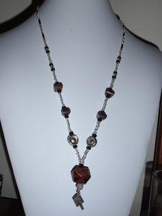 Mahogany Obsidian gemstone necklace with Bible pendant silver black brown. $12.00, via Etsy, BaileyBeadz