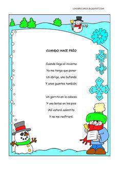 poemas-y-rimas-del-invierno-infantil. Preschool Poems, Rhyming Poems, Preschool Activities, Bilingual Classroom, Bilingual Education, Classroom Language, Spanish Songs, Spanish Lessons, Spanish Activities