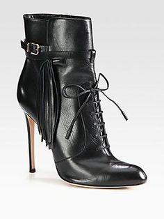 Altuzarra Leather Fringe Lace-Up Ankle Boots