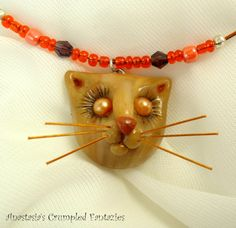 Beige light brown kitty pendant Polymerclay by CrumpledFantazies