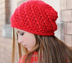 Red Beanie Hat, Hand Crochet Chunky Winter Hat, Cute Hats for Teen Girl or Women, Gifts for Teenagers, Chunky Beanie, Red Hat, Skull Cap by foreverandrea on Etsy