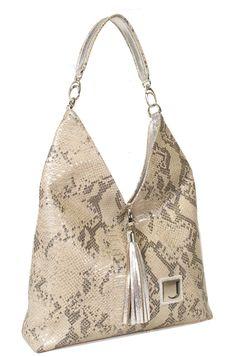 Animal Alert: Joanel's Large metallic shoulder bag in snake print with tassel detail