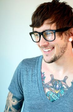 Hot Tattoed Guys Wearing Glasses, Miss Spectacles: Babes + Tattoos + Glasses