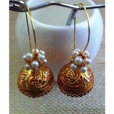 Antique gold  Meenakari jhumkas with jaali pearls