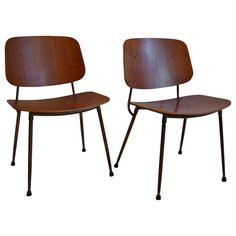Pair Of Børge Mogensen Side Chairs - On Frame Denmark 1950 Danish Mid-Century Modern Steel, Teak