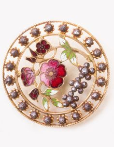 Antique floral, open pierced Champleve enamel, button