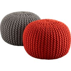 Can't decide between the red or the grey pouf ...