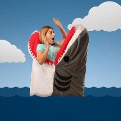 Shark-shaped sleeping bag