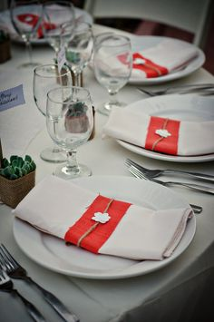 Rustic Coral Wedding Napkin Bands Place setting by AnthonyandStork